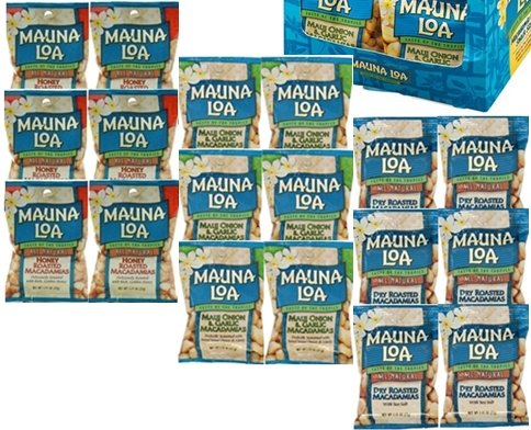 MAUNALOA(マウナロア) マカダミアナッツ お好み18袋 (【塩味、ガーリック、ハニーロースト各6袋】)