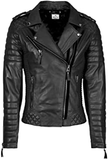 VearFit Women's Moto Biker Motorcycle Zipper Red, Tan, Black and Red Real Lambskin Leather Jacket
