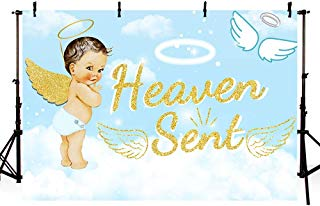 MEHOFOTO 7x5ft Cute Heaven Sent Boy Baby Shower Party Backdrop Props Light Blue Sky White Cloud Angel Gold Wing Decorations God Gift Photography Background Photo Banner