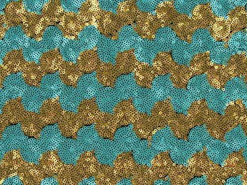 Dalston Mill Fabrics–3mm Lentejuelas Tul con Dos Tonos Wave, Color Azul y Dorado, 7m, poliéster, Negro/Plateado