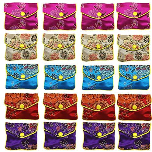 HAN SHENG 20 Pcs Embroidered Silk Jewelry Pouch Brocade Coin Purse Zipper...