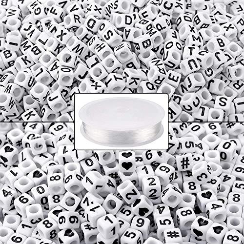 Rosi home アルファベットビーズ キューブビーズ 1000個 樹脂ビーズ ビーズ 数字 DIY用 ビーズ アクセサリー キューブ形 手芸 ブレスレット用 オペロンゴム 25m ジュエリー作り(6mm)