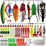 OPQ Fishing Lures Kit for Freshwater Trout Bass Salmon Fishing Baits Tackle Box Topwater Lures Soft Lures Hard Lures Fishing Gear 102Pcs Fishing Lures Kit Set