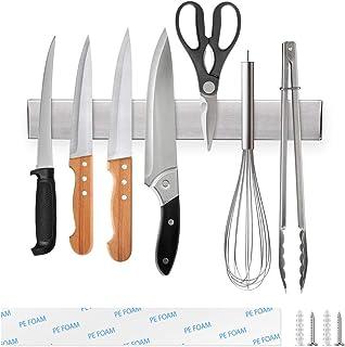 Ninonly Porte Couteaux Magnétique 30cm Barre à Couteaux Aimantée, Porte-Couteaux en Acier Inoxydable, Bandeau magnétique d...
