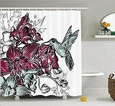 Hummingbirds Decorations Shower Curtain Set, Orchid Flowers Bouquet and A Hummingbird Decorative Artistic Design Artwork, ...