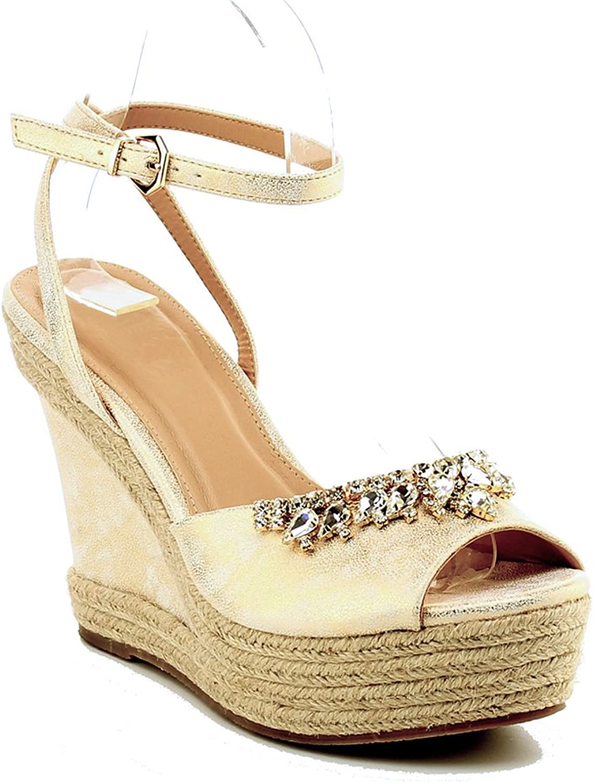 WestCoast Beverly Women's Fashion Leatherette Lace up Wedge Sandal
