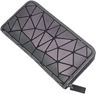 Aisunne Geometric Shard Lattice Luminous Wallet Handbags Totes Purses Bag Leather Purses with zipper