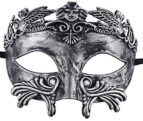 KEFAN Mascarada Romana Antigua Griega Máscara Veneciana de los Hombres Mardi Gras Máscara de la Bola de la Boda (Plateado Negro)