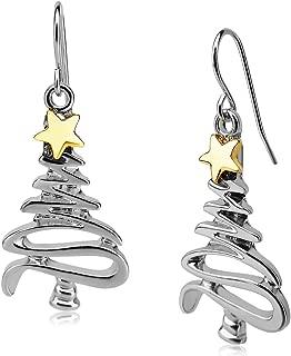 Cute Christmas Tree Piercing Dangle Earrings Golden Silver Two Tone Women Girls Holiday Gift