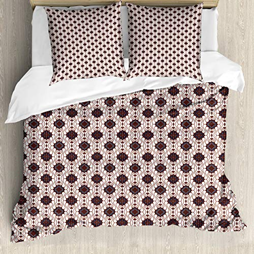ABAKUHAUS Asian Duvet Cover, Japanese Batik Pattern with Geometric Influences Dots Lines and Rhombuses, Decorative 3 Piece Bedding Set with 2 Pillow Shams, 200 cm x 200 cm, Dark Blue White Brown