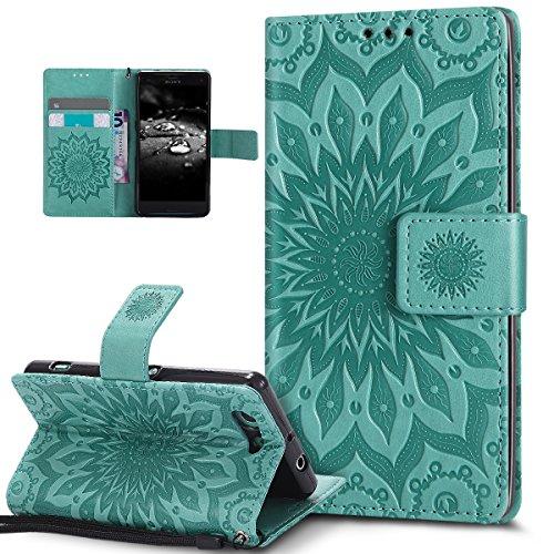 Kompatibel mit Schutzhülle Sony Xperia Z3 Compact Hülle Handyhülle,Prägung Mandala Blumen Sonnenblume Muster PU Lederhülle Flip Hülle Cover Schale Ständer Etui Wallet Tasche Case Schutzhülle,Grün