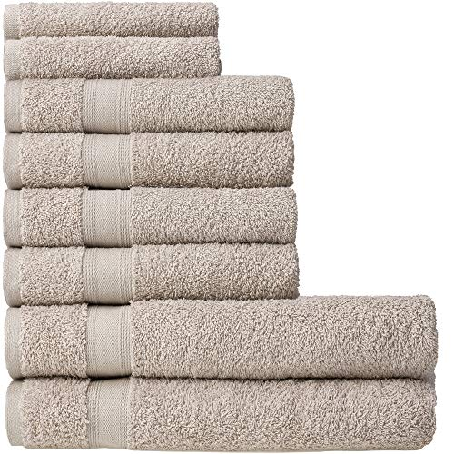 nottoc Frottee Handtücher Set Beige, 2 Badetücher 4 Handtücher und 2 Gästetücher - Handtuch Set 100% Baumwolle Saugfähig Superweiche Türkische Luxus Handtücher - 8 Stück