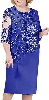 comprar comparacion Reooly Nuevo Gran tamaño para Mujer, Costuras de Encaje, Cuello Redondo, Manga Corta, Vestido Corto de Longitud Media, Ves...