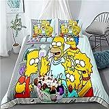 DWSM Simpson Parure de lit en Microfibre 3D pour Enfant avec Housse de Couette et taie d'oreiller,Microfibre,Super Doux,Multicolore (15,200 * 200CM)