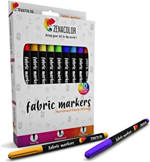 Zenacolor 20 Fabric Markers Pens Set - Non Toxic, Indelible and Permanent Fabric Paint Fine Point Textile Marker Pen - Pens Fine Point Tip