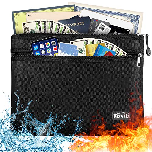 "Large Fireproof Document Bag with Two Pockets Two Zippers, 13.7""x 9.8"" Water Resistant Fireproof Pouch, Fireproof Safe Storage Money Bag for A4 Document Holder,Cash,File,Tablet,Passport and Valuables"
