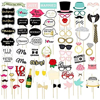 72-Pack Wedding Photo Booth Props - Funny Bridal Party Photo Props Selfie Props Fun Prop Kit Assorted Designs