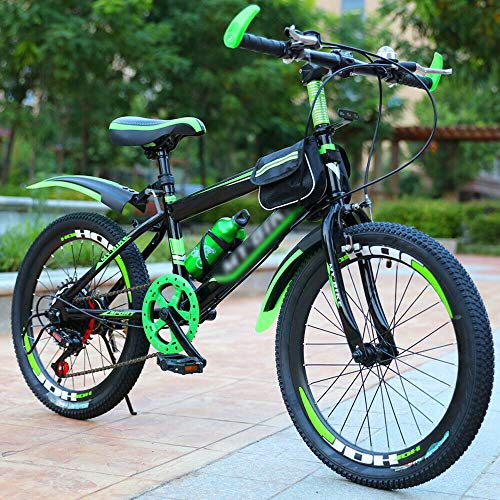 Kaibrite Bicicleta de montaña de doble disco de 20 pulgadas, de acero de alto carbono, marco duro, verde, rojo (verde)
