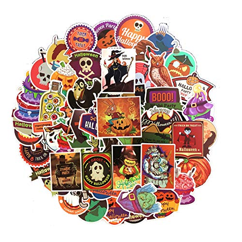 Linzze Cool Stickers 100-Pcs Pack Halloween Scary Skull Waterproof Vinyl Bumper Horror Decals Perfect for Halloween Party Decoration Laptop Water Bottle Travel Case Stickers (Halloween Theme)