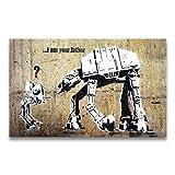 Goods & Gadgets Banksy Kunstdruck auf Leinwand I am Your Father - Star Wars Graffiti Bild 95 x 60 cm