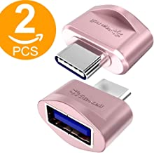 Act 2 Pack USB-C to USB 3.0 Mini Adapter [World's Smallest] for Macbook Pro 2016, MacBook 12-inch and other Type-C Devices (Pink)