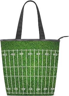 ISAOA Große Einkaufstasche aus Segeltuch, American Football Field, dunkelgrün Grunge Handtasche Strand Tote Bag für Mädchen Frauen