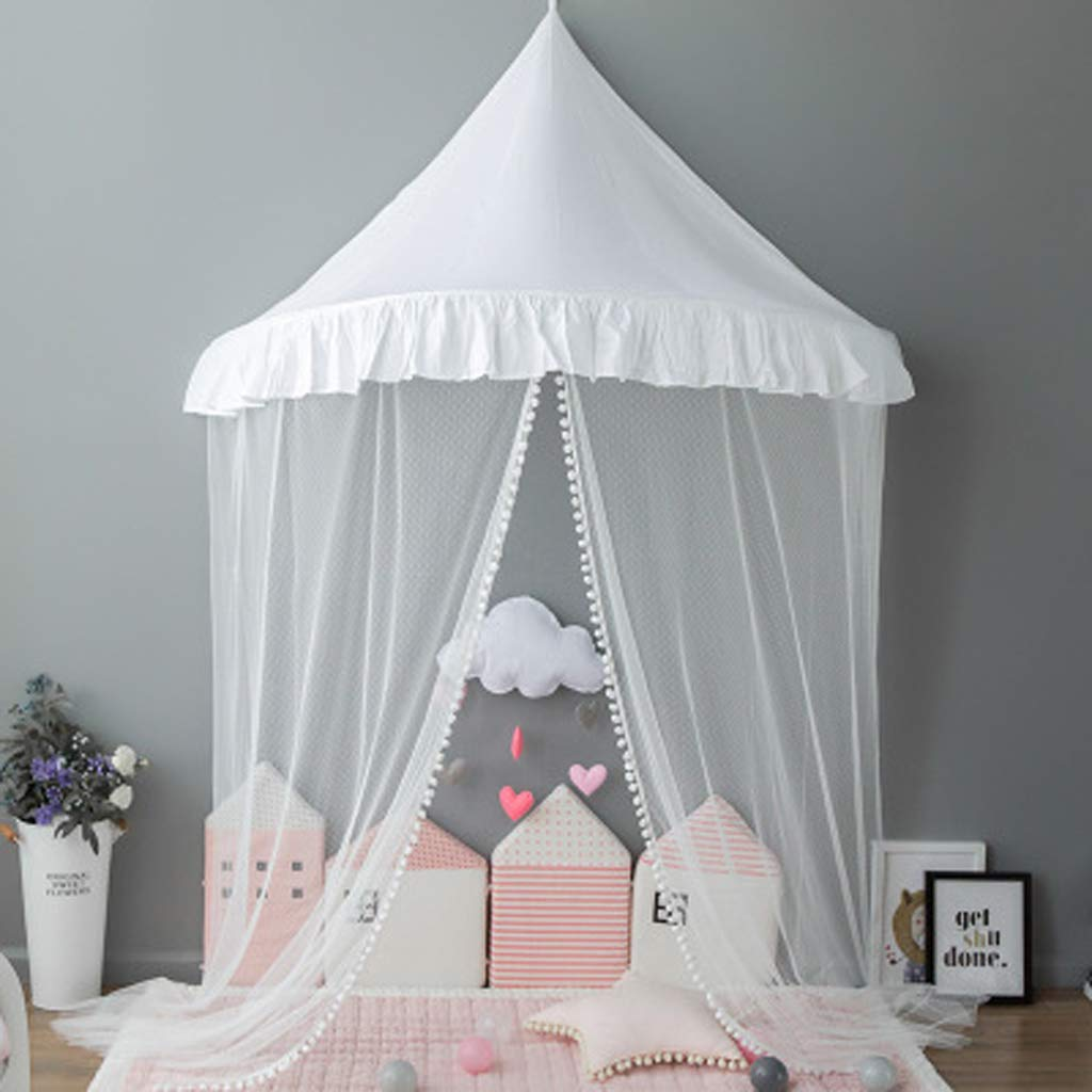 Princess Girls Bed Canopy, Lace Crib Canopy with Gauze Curtain, Fairy Net for Kids Bed, Kids Play Tent Castle, Reading Nook Canopy for Girls, Babies & Toddlers
