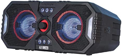 Altec Lansing ALP-XP400 Xpedition 4 Everything Proof Portable Waterproof Bluetooth Indoor/Outdoor Speaker with Multi-Colored LED Light Show, Stereo Pairing, Dual 4