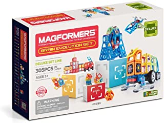 Magformers Deluxe 305 Pieces, Rainbow, Educational Magnetic Geometric Shapes Tiles Building STEM Toy Set Ages 3+