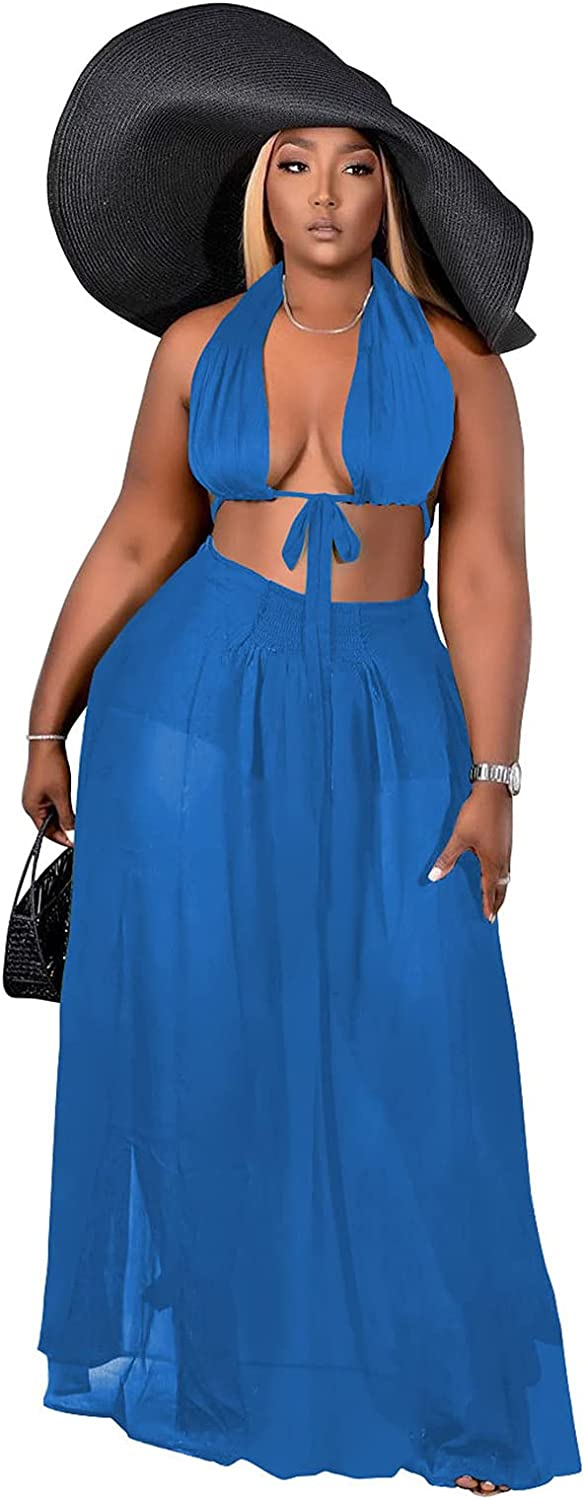 Womens Plus Size 2 Piece Dress Outfits Chiffon Halter Neck Bandeau Top and Long Maxi Skirt Sets Party Beach Cover Up