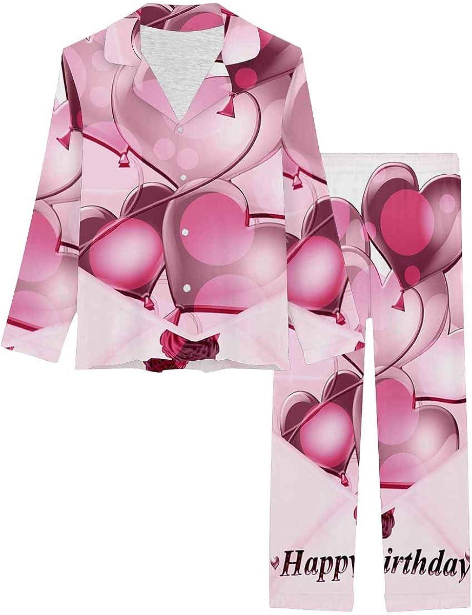InterestPrint Notch Collar Soft Sleepwear Pj Set for Women Balloons in the Envelope Hearts