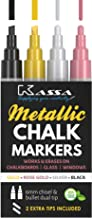 Kassa Metallic Liquid Chalk Markers for Blackboards (Gold, Rose Gold, Silver & Black) - 4 Colored Pack - Chalkboard Pens E...