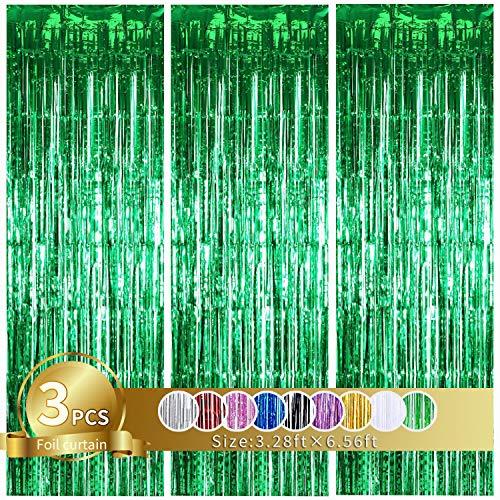 3 Stück Grün Metallic Lametta Vorhänge,Tinsel Folie Vorhang Folienfransen Vorhang für Hochzeit Verlobung Brautdusche Geburtstag Bachelorette Party Bühnendekor