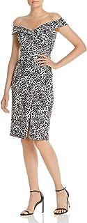 BLACK HALO Womens White Animal Print Sleeveless Off Shoulder Knee Length Sheath Cocktail Dress AU Size:10
