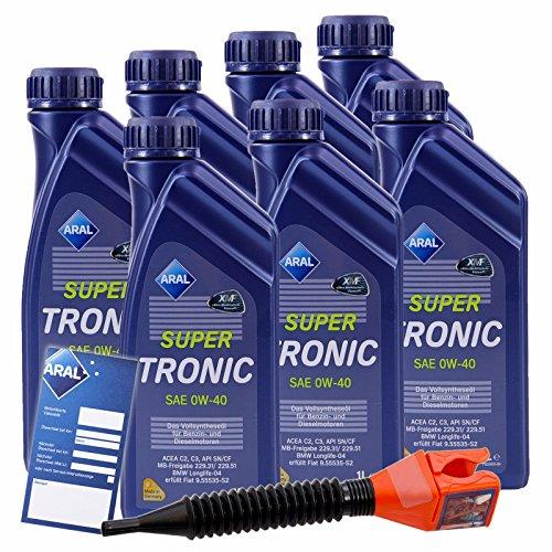 7x 1 L Liter ARAL SuperTronic 0W-40 Motoröl inkl. Ölwechselanhänger und Einfülltrichter