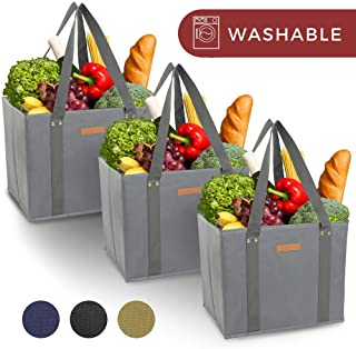 Reusable WASHABLE Grocery Shopping Cart Trolley Bags - set of 3 | Extra Long Handles, Spillover Proof, Eco-Friendly, Large, Durable, Collapsible Tote with Reinforced Sides and Bottoms (Grey, 3)
