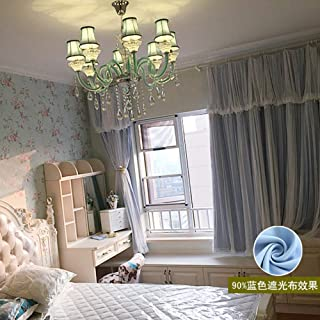 Horzontal Blinds Lace Shade Window Shades,Korean Modern Warm Princess Wind Curtain Fabric Finished Bedroom Floating Curtain 100% Light Window Curtain-B 500x270cm(197x106inch)