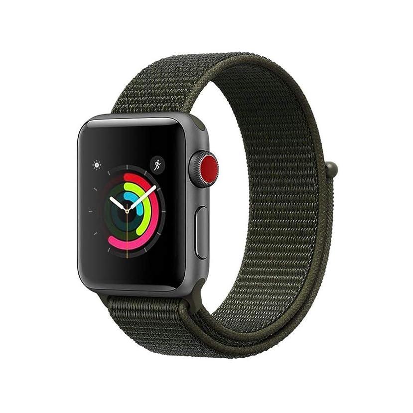 ダイバーお金ゴム良いAIGENIU コンパチブル Apple Watch バンド、ナイロンスポーツループバンド Apple Watch Series4/3/2/1に対応 (42mm/44mm, カーゴカーキ)