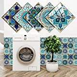 Decorative Tile Stickers, 20 Pcs Mandala Decorative Tile Stickers 6x6 inch, Peel & Stick Vinyl Self-Adhesive Tile Stickers for Kitchen Bathroom Furniture Staircase Home Decor (Mint Green)
