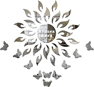 Atulya Arts - 3D Acrylic Sun Flame Mirror Decorative Wall Stickers with Extra 10 Butterfly Sticker ,(45cm X 45cm) - Pack o...