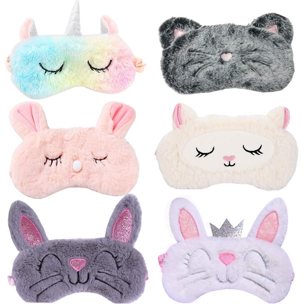 6 Pack Cute Animal 67% OFF of fixed price Unicorn Sleep for Soft mart Girls Mask Plush Blind
