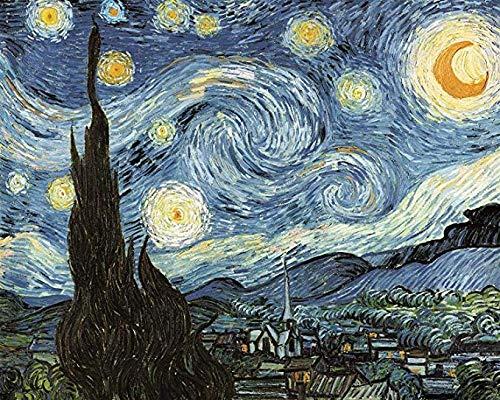 Rompecabezas de madera para adultos para niños Van Gogh Abstract Starry Night, Diy Rompecabezas de descompresión creativo Regalos Juguetes Rompecabezas de 1000 piezas Rompecabezas para adultos 52X38cm