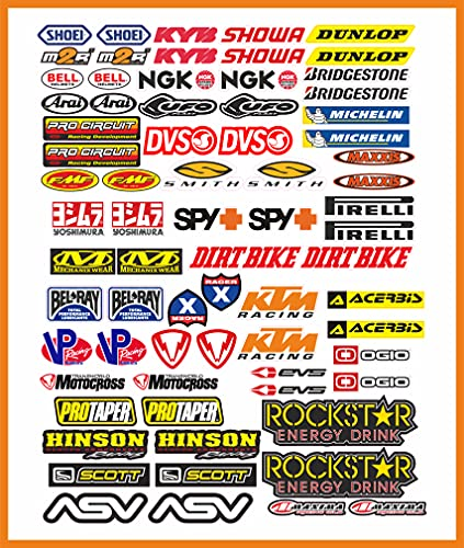 senza marca Adesivi Moto Sponsor 73 Pz Sticker Motocross Grafiche Bici MTB Computer Motorino Kit Modellismo Vinile Lucido Marche Famose Pack