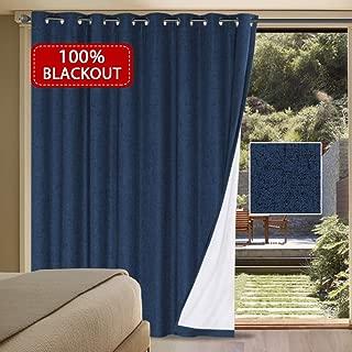 H.VERSAILTEX 100% Blackout Drapes for Sliding Glass Door- Waterproof Faux Linen Door Blinds Anti Rush Grommets Patio Door Curtains Extra Long and Wide for Bedroom(Navy, 100
