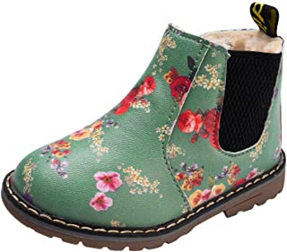 Kids Baby Boys Girls Anti-Slip Floral Martin Boots,Winter Thick Plush Snow Bootie Party Sneaker Shoes 5.5-10