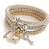 Outflower Fashion Key Lock Diamond Corn Braccialetto a Catena Grossa Bracciale Donna a Tre Pezzi Gioielli da Donna Accessori Selvatici (Come Mostrato)