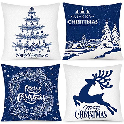 Whaline Merry Christmas Pillow Case White Blue Pillow Cover Snow Xmas Tree Reindeer Throw Cushion Cover Cushion Cases for Home Office Sofa Bed Christmas Party Decoration, 4Pcs, 18' x 18'
