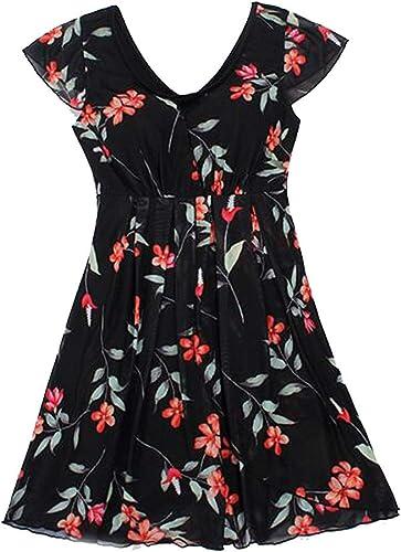 Wangwen Maillot De Bain Une Pièce pour Femme avec Maillot De Bain Imprimé Floral (Couleur   noir, Taille   XL)