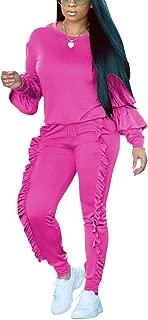 Akmipoem Women's Two Piece Outfits Ruffle Sleeve Sweatshirt and Long Pants Tracksuit