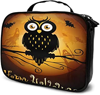 Cosmetic Bag Halloween Owl Silhouette Makeup Bag Lightweight Portable Cosmetic Case Water Resisted Cosmetic Makeup Bag Durable Organizer Makeup Boxes With Insulated Pockets For Travel